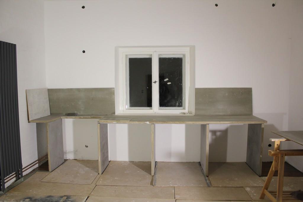 Küchenzeile aus Betonelementen